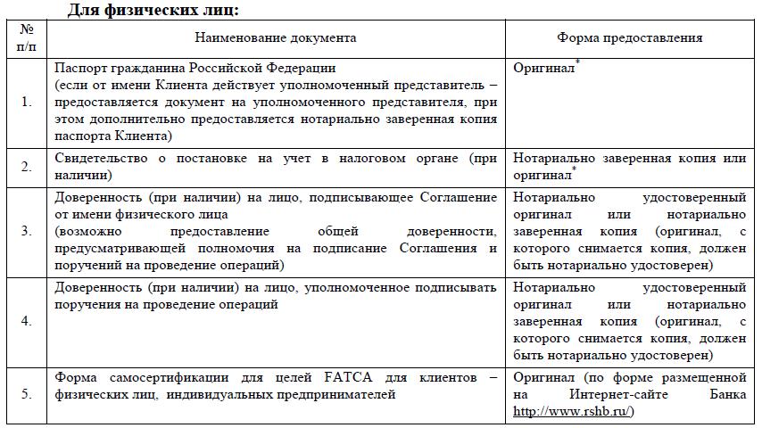 документы для открытия инвестиционного счета физическим лицам